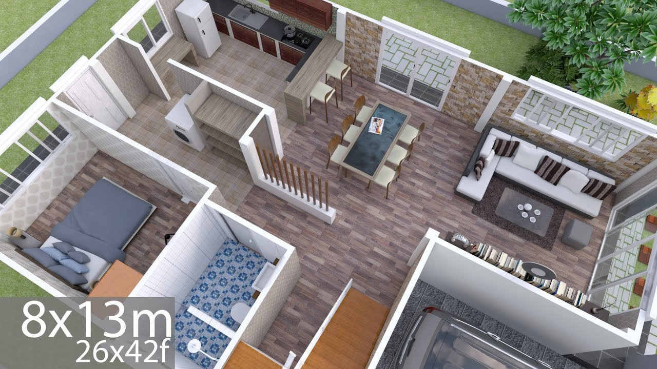 Plan 3d Interior Design Home Plan 8x13m Full Plan 3beds Youtube