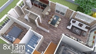 Plan 3D Interior Design Home Plan 8x13m Full Plan 3Beds