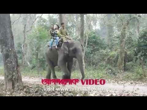 Ritwick and Koel elephantride in 'Chhaya o Chhobi'. Anandalok captured the fun