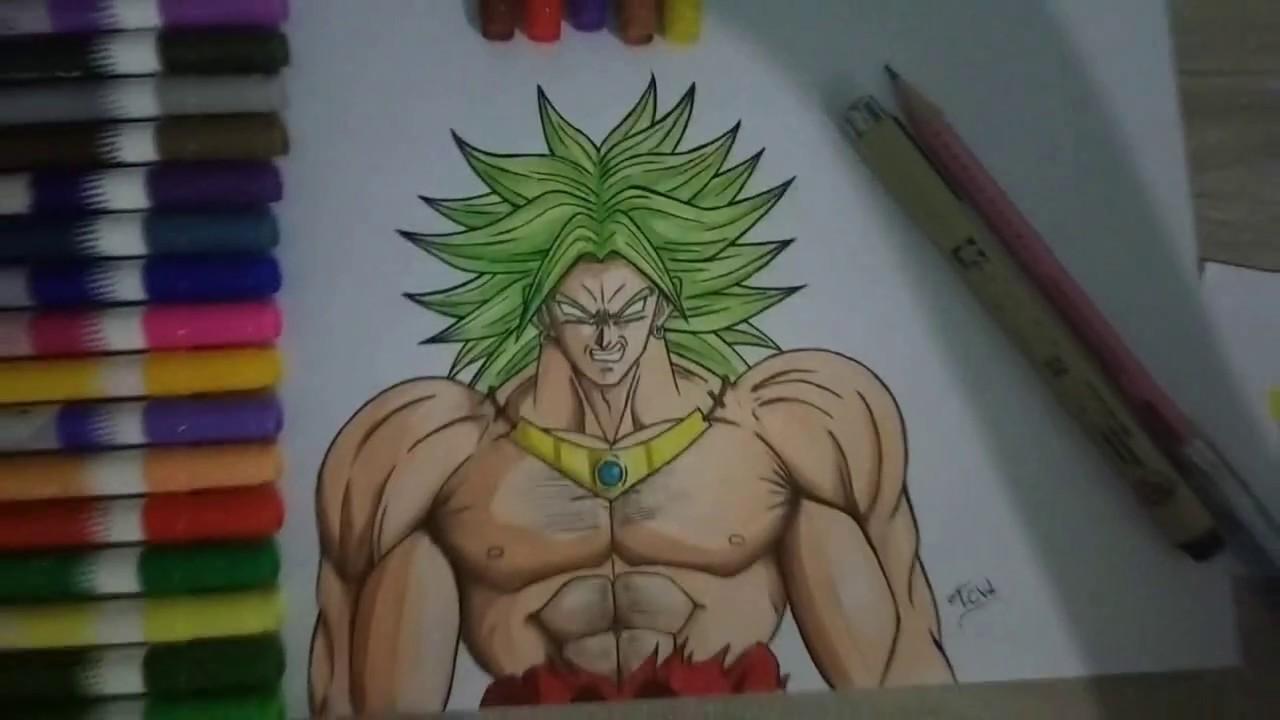 desenho broly com pintura a lapis de cor youtube