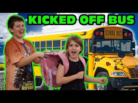Kid Temper Tantrum Throws Sister's Backpack Out School Bus Window