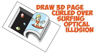How to Draw Optical Illusion Easy for Kids 3D Hole in Paper Rolled Back Cartoon Surfer