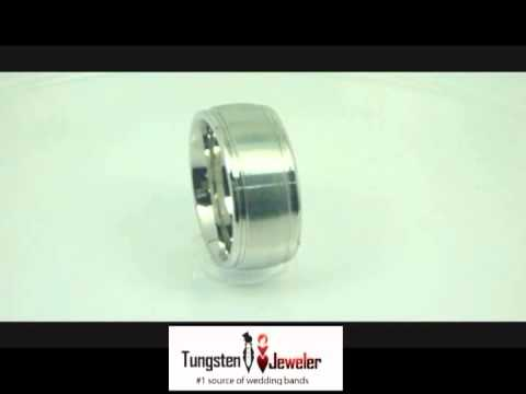 Cobalt White Diamond Brushed Center Stepped Edge Band Ring | Offered by TungstenJeweler.com