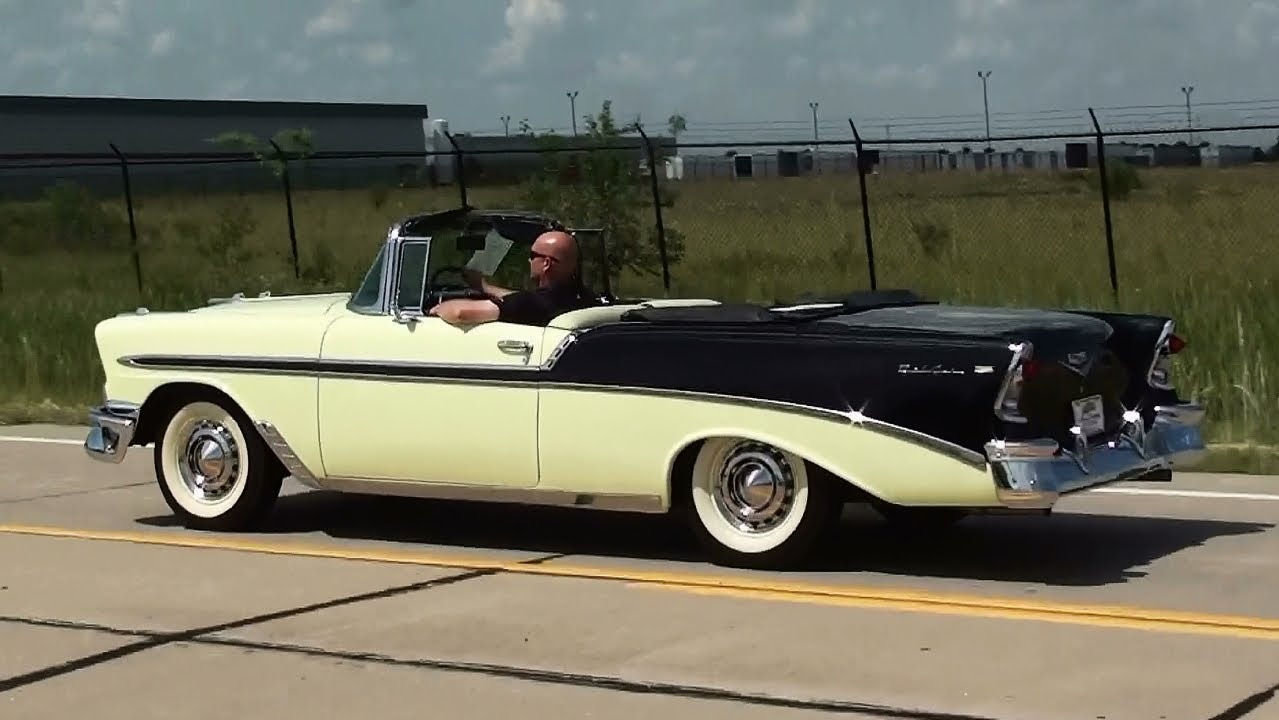 test driving 1956 chevrolet bel air convertible 265 v8 power pack fast lane classic cars youtube. Black Bedroom Furniture Sets. Home Design Ideas