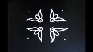 Diwali rangoli-Easy rangoli 4X4 dots-Simple rangoli-Small muggulu designs-Diwali kolam designs