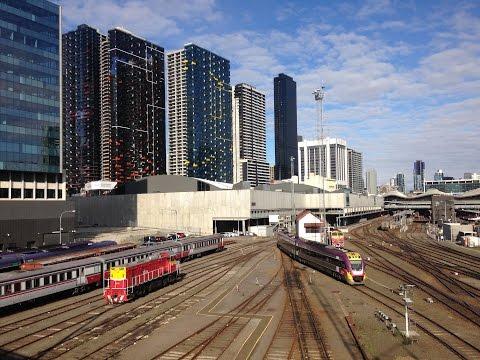 1080p: V/Line in Melbourne, Australia- passenger & freight locmotives, 4 way meets & A66 8/24/2016