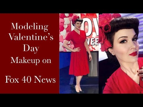 Modeling Valentine's Day Makeup On Fox 40 News, Pinup Girl Style!