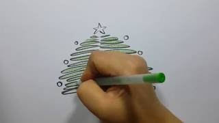 How to Draw  Christmas tree-Easy and Fun!!