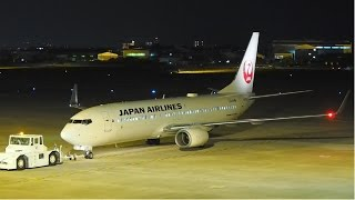 """Crane fly into Night sky"" JAL (JAPAN AIRLINES) Boeing 737-846 JA329J in MATSUYAMA Airport"