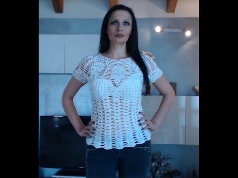 Maglia Cotone Uncinetto.Maglietta Bianca All Uncinetto 3 Di 6 Youtube