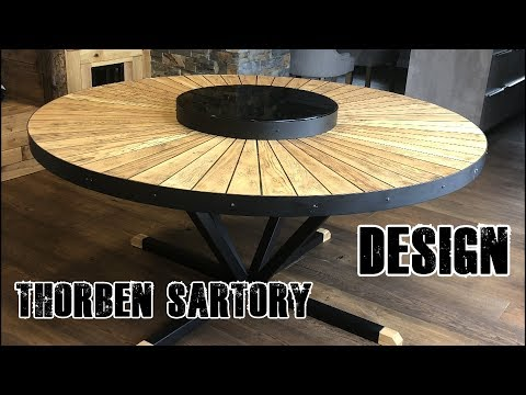 Round industrial steel wood epoxy table