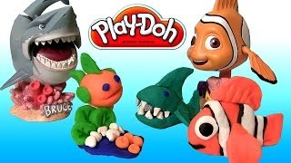 Play Doh Makeables Sea Life Pixar Finding Nemo Shark Bruce Turtle Disneyplaydough by Disneycollector
