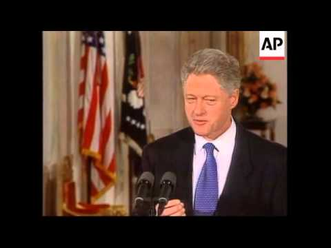 USA: WASHINGTON: BILL CLINTON & TONY BLAIR JOINT RADIO BROADCAST