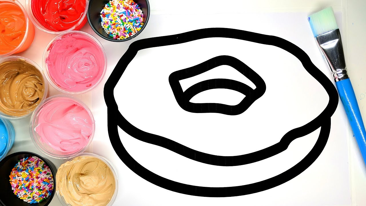 Painting Donut and Dress Coloring Pages with Paint ...
