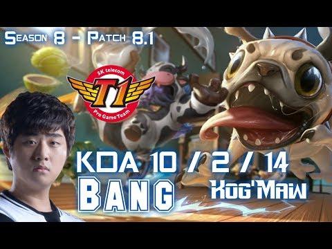 SKT T1 Bang KOG'MAW vs VAYNE ADC - Patch 8.1 KR Ranked