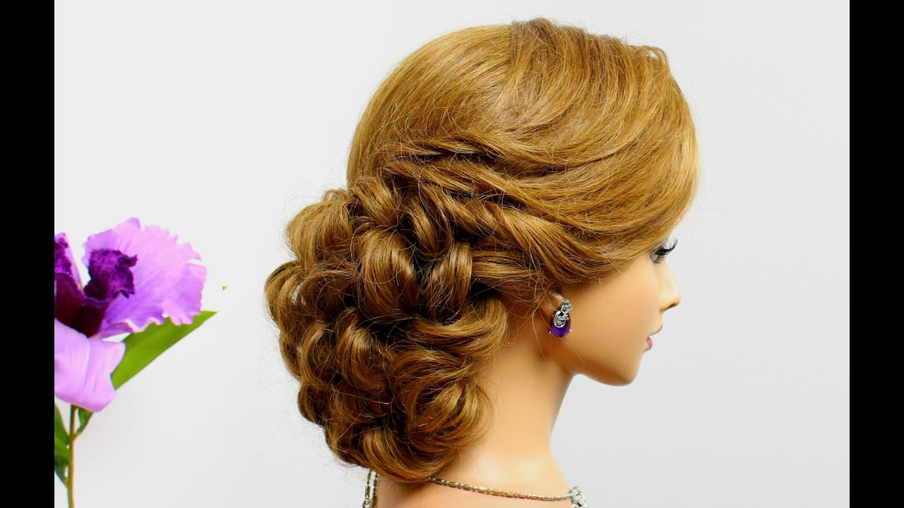curly prom hairstyle for long medium hair tutorial. wedding updo