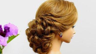 Curly wedding  hairstyle for medium hair tutorial.