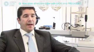 How does aftercare differ with LASIK and PRK:LASEK?