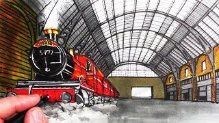 How to Draw a Train in Perspective: Hogwarts Express