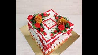 УКРАШЕНИЕ торта на ЮБИЛЕЙ Белковым Кремом торт мужчине КВАДРАТНЫЙ ТОРТ БОЛЬШОЙ ТОРТ БЗК