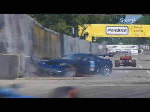 IndyCar 2018. Race 2 Detroit Grand Prix. Pace Car Crash