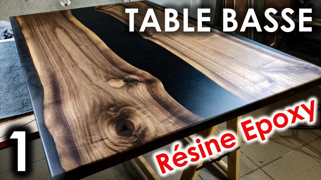 table basse diy resine epoxy noyer noir americain partie 1