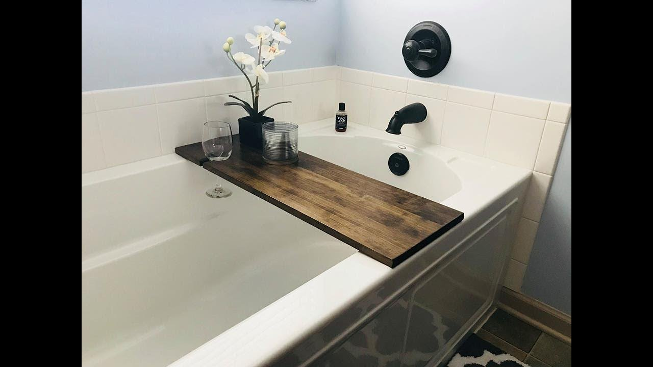 Make a Relaxing Bath Tub Tray with Wine Glass Holder - YouTube