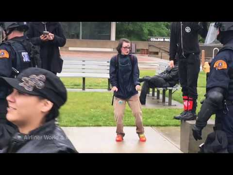 ANTIFA dude dancing at protest