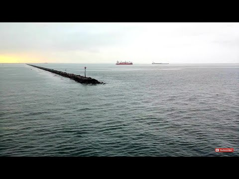 Most Relaxing Ocean Scene Ever ~ Entering Long Beach California Port at Sunrise ~ Sound of Waves