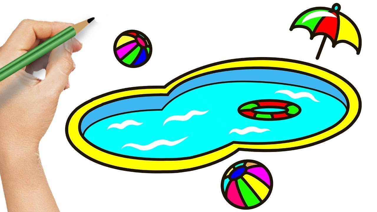 How to Draw Swimming Pool Playground - Amazing Coloring with Pencil for  Children