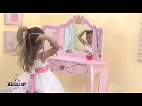 Girls Pink Princess Vanity Dressing Table And Stool KidKraft 76123   YouTube