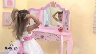 Girls Pink Princess Vanity Dressing Table And Stool Kidkraft 76123