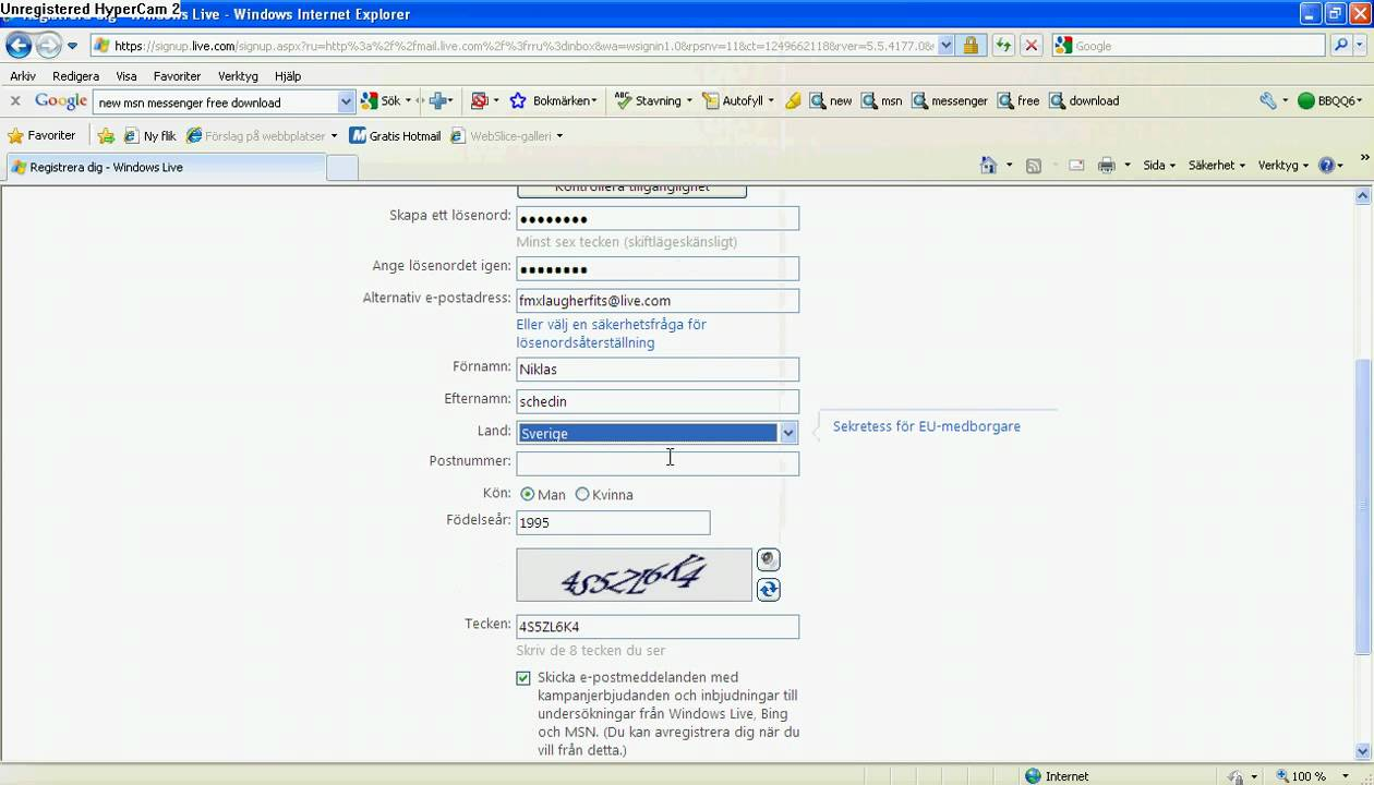 Hotmail account details