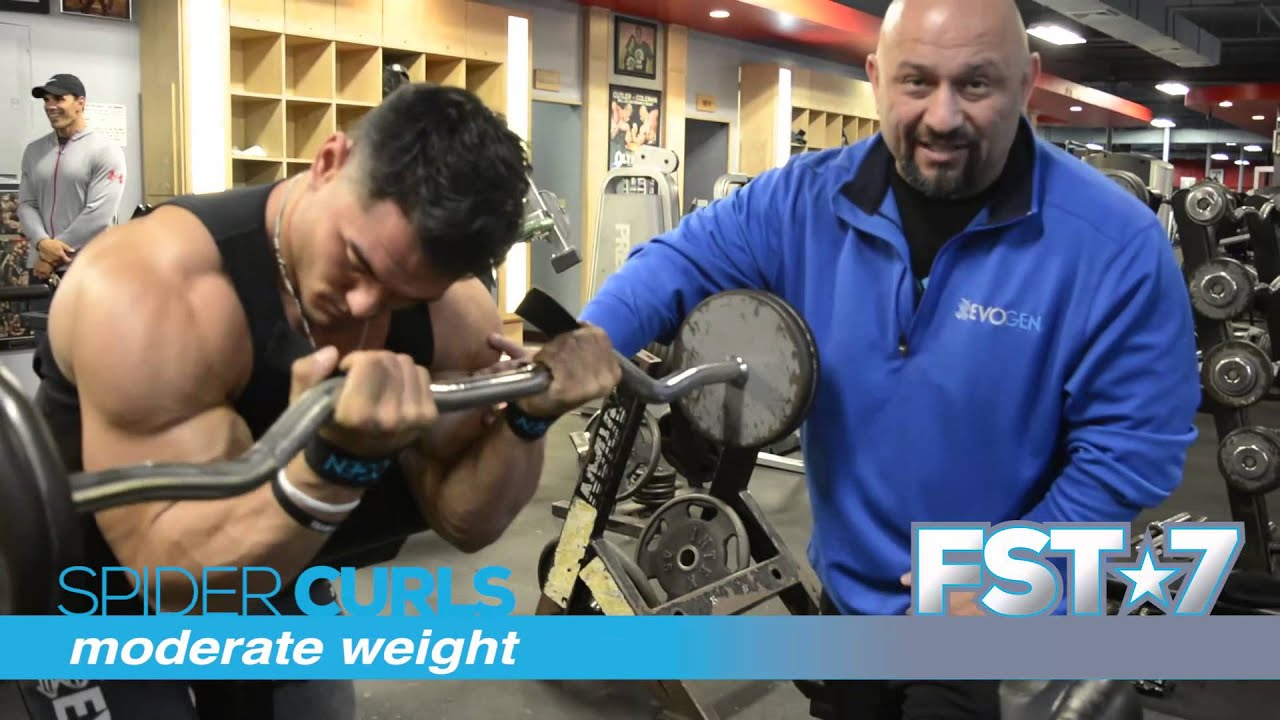 Hany Rambod S 70 Sec On Fst 7 Spider Curls With Men S Physique Olympia Champ Jeremy Buendia Youtube