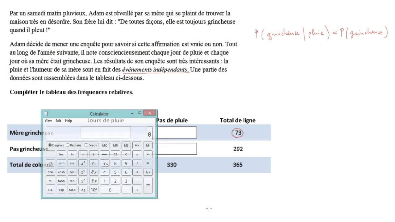 Tableau De Frequences Conditionnelles D Evenements Independants Video Khan Academy