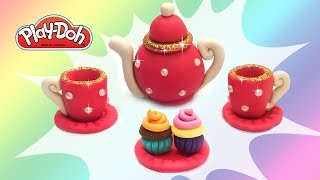 DIY Toy Tea Set. Play Doh Tutorial for Kids. How to Make Stuff for Dolls - Tea Party Playset