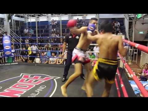 Nicolas (Sinbi Muay Thai- Red Corner) fights at Bangla Boxing Stadium- 31.03.2017.