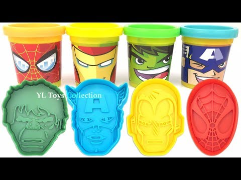 Play Doh Marvel Avengers with Iron Man Hulk Captain America Molds and Surprise Toys