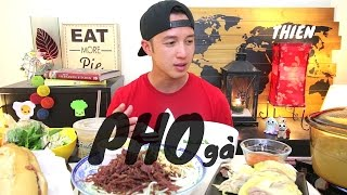 [mukbang with THIEN]: Chicken (gà) PHO, Vietnamese Grilled Pork Sandwich (Banh Mi), and Papaya Salad
