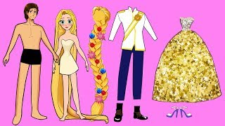 PAPER DOLLS WEDDING MAKE UP AND DRESS UP GLITTER PAPERCRAFT BRIDE AND GROOM