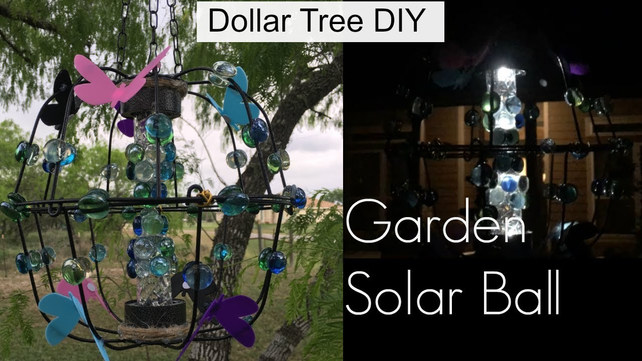 DIY Dollar Tree HANGING GARDEN SOLAR BALL | Beautiful Yard Decor