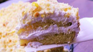 Лимонный торт Нежность Лимонник тающая во рту Лимонный торт с безе Limonniy tort