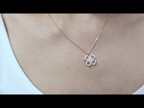 clover spinning necklace rose gold