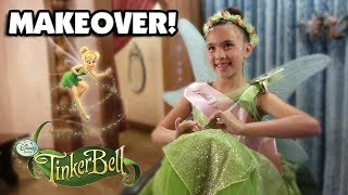 BIBBIDI BOBBIDI BOUTIQUE!!! Tinkerbell Makeover!  Meeting Princesses at Disneyland! thumbnail