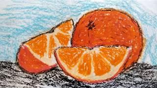 How to Draw Orange / Как нарисовать апельсин Восковыми карандашами (масляная пастель)