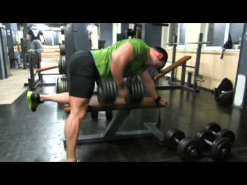 Bench supported single arm dumbbell row