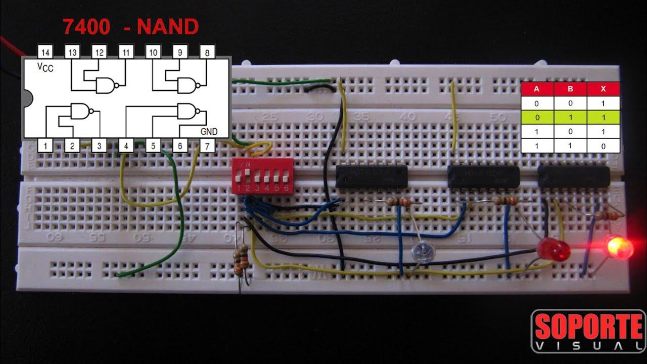 Circuito Nand : Compuertas lógicas nand nor xor protoboard youtube