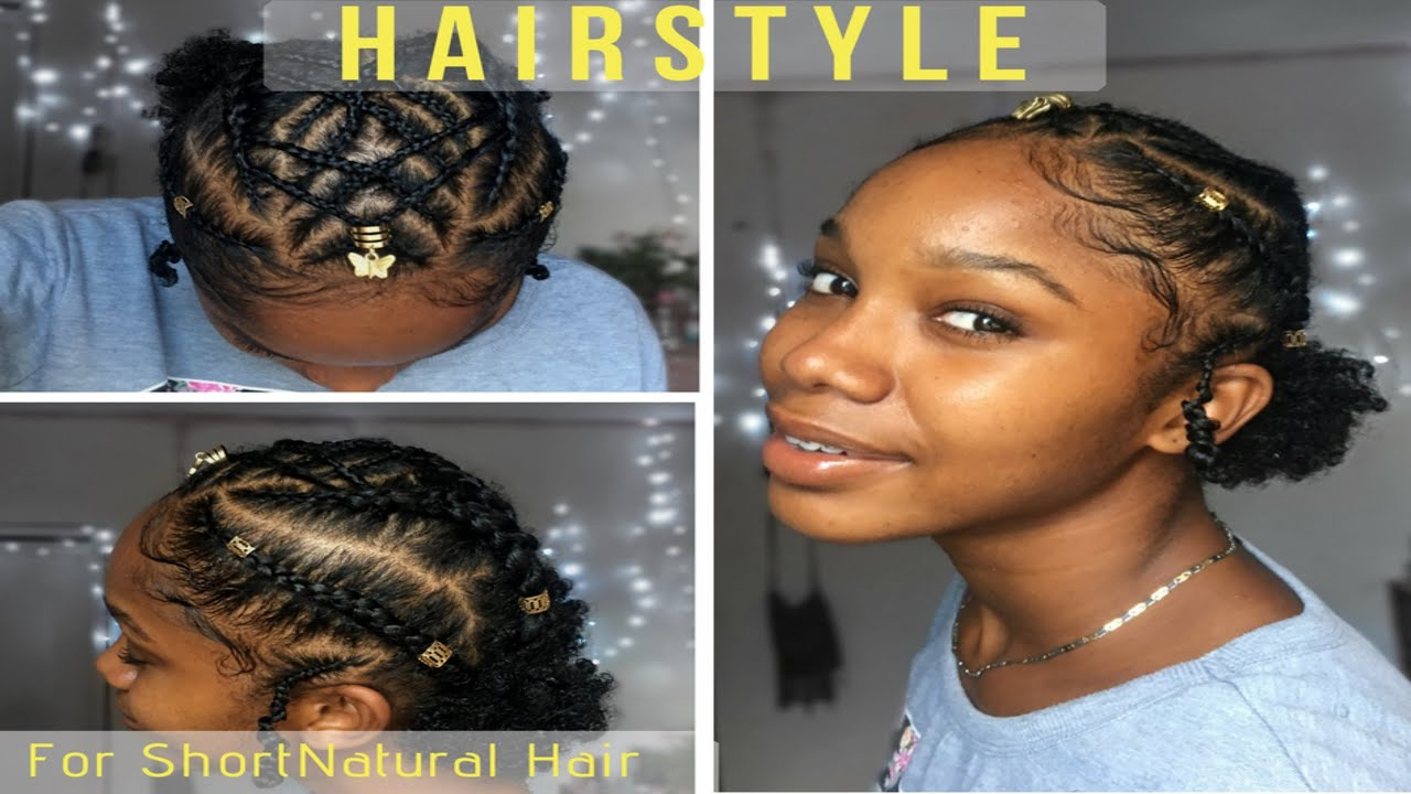 Braided Cornrow Hairstyle for Short Natural Hair  TWA Hairstyles  YouTube