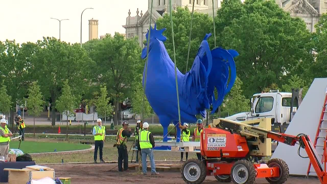 Mpls Sculpture Garden Adds Its New Blue Rooster Youtube