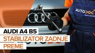 Vgradnja spredaj levi Šipka stabilizatorja AUDI A4: video priročniki